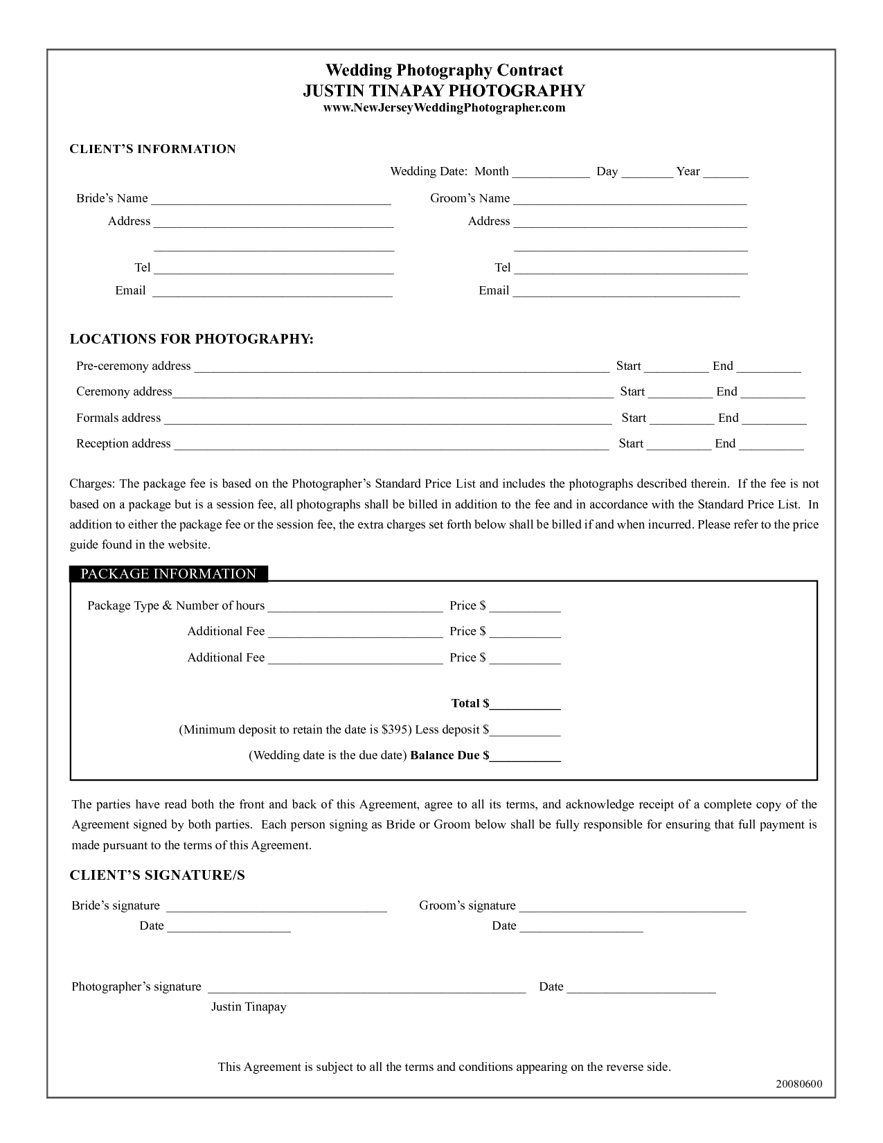 Photography Contract Template Wedding Justin Tinapay