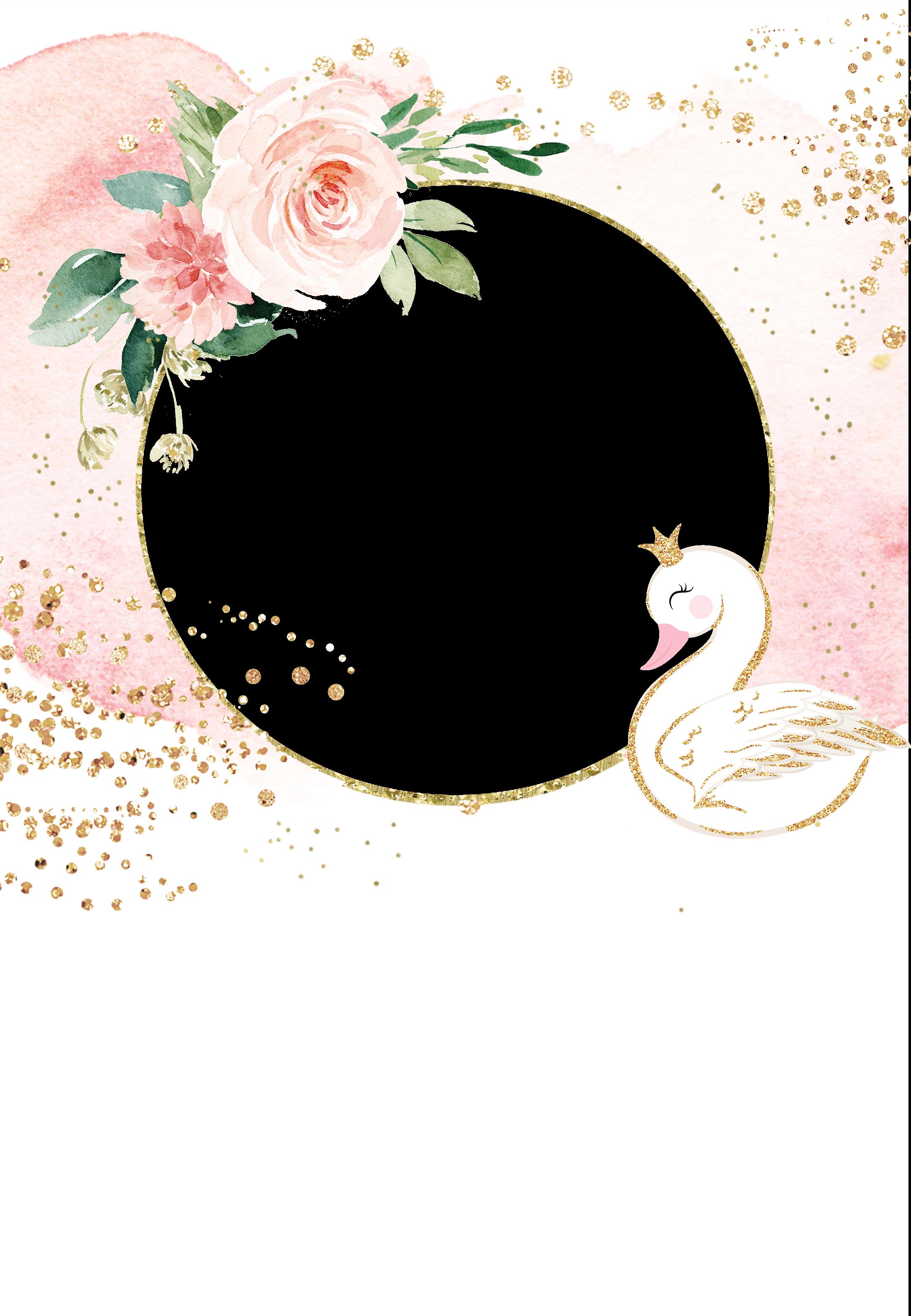 Swan & pink roses - Birthday Invitation Template  Greetings
