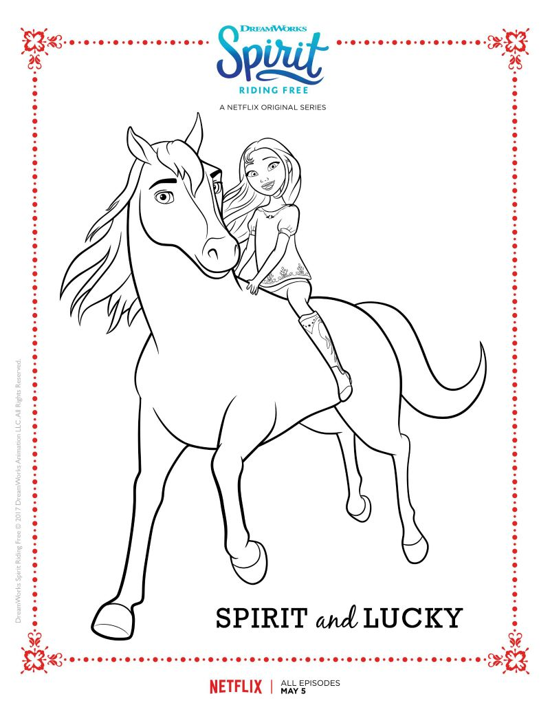 Spirit Riding Free Spirit And Lucky Coloring Page Horse Coloring