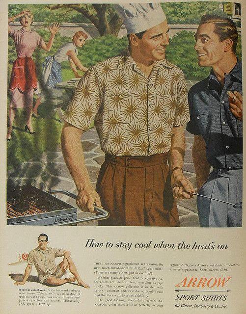 1950s Vintage Advertisement Arrow Shirts Men Fashion Illustration