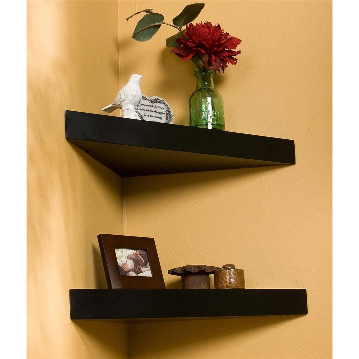 Luxurious And Modern Matte Black Triangle Floating Corner Selves