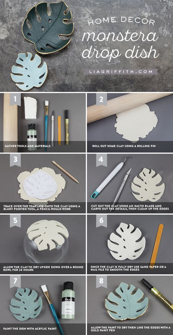 Make A Simple Diy Monstera Drop Dish For Your Home Handicrafts