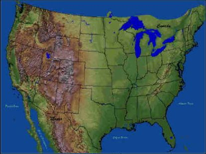 United States Topographic Satellite Picture of USA
