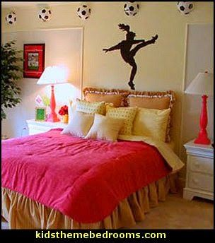 Girls Sports Themed Bedroom Decorating Ideas   Sports Bedding   Sports  Bedrooms   Girls Rooms Sports Themed   Cheerleader Themed Bedroom  Decorating Ideas ...