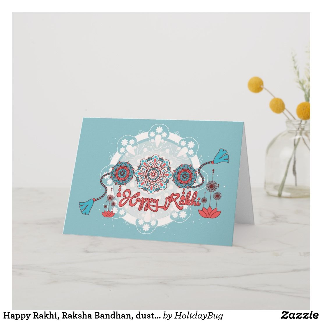 Happy Rakhi, Raksha Bandhan, dusty blue Card | Zazzle.com