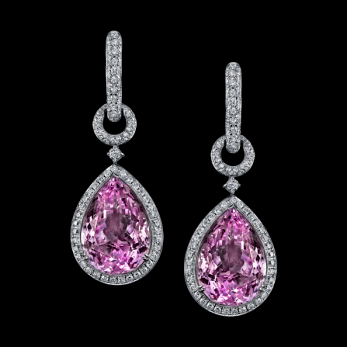 Robert Procop Exceptional Jewels Luxurious Purple Pink Kunzite Earrings Set In 18k White Gold With Diamond Micro Pave Accenting A Chain Link