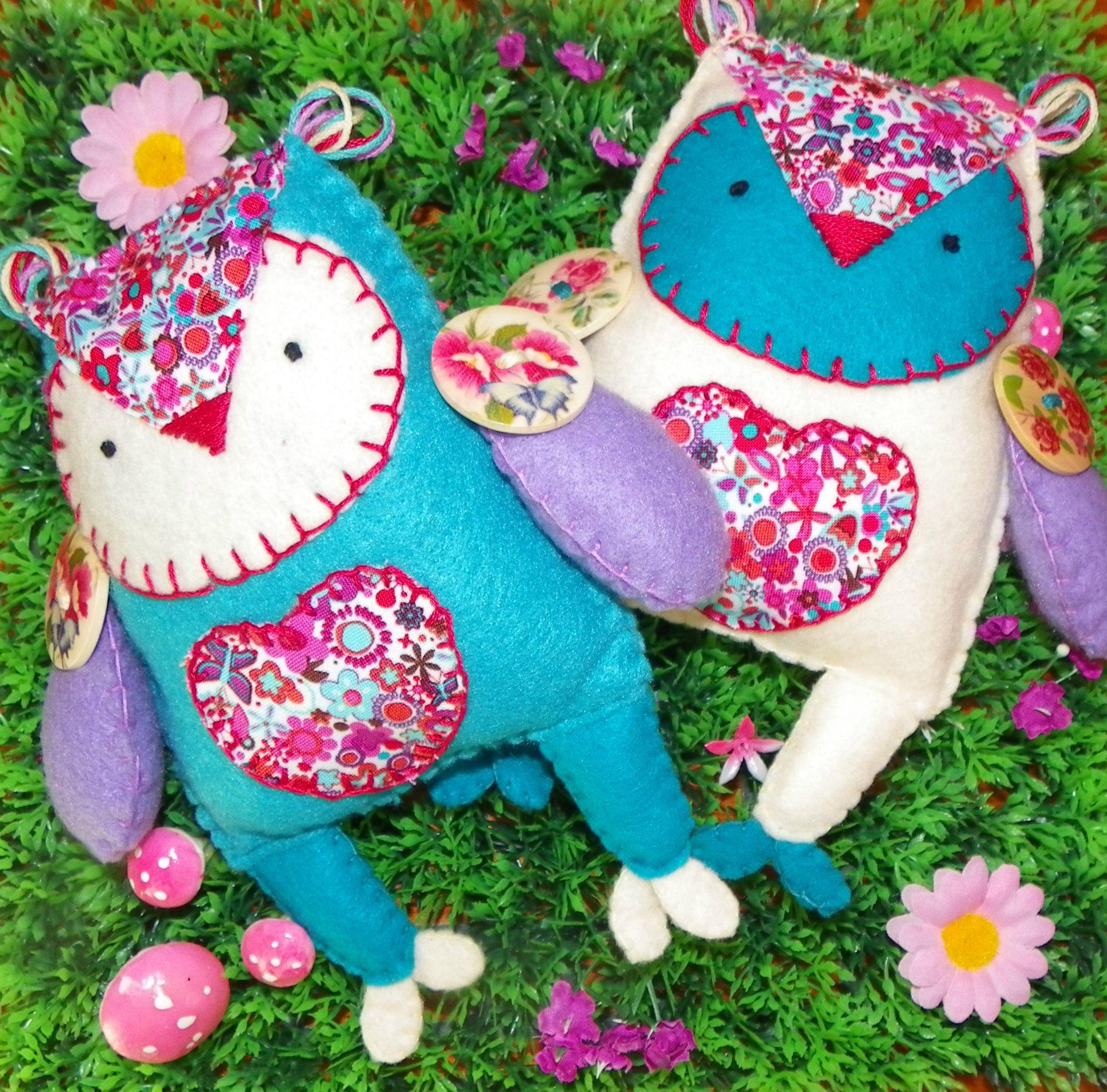 Best friend owl softies - matching felt owls - www.facebook.com/puddleducklings