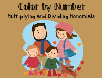 Color By Number Multiplying And Dividing Monomials Dividing