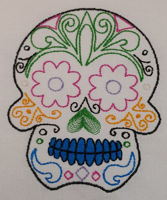 Sugar Skull Outline Digital Embroidery Design Crochet Knit