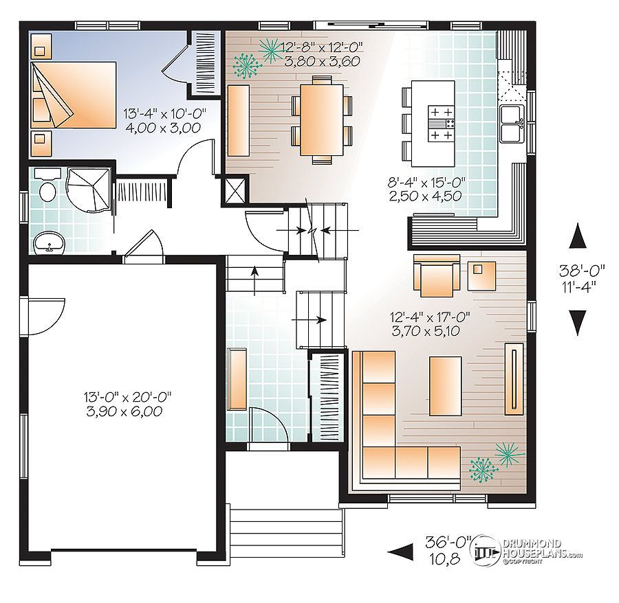 House plan W3490 detail from