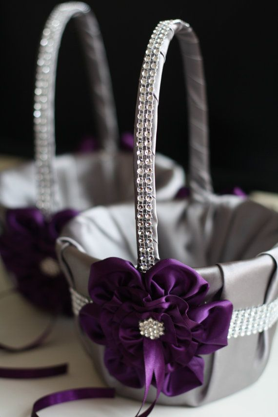 Wedding Baskets For Flower Petals : Gray and plum wedding flower girl baskets egg plant