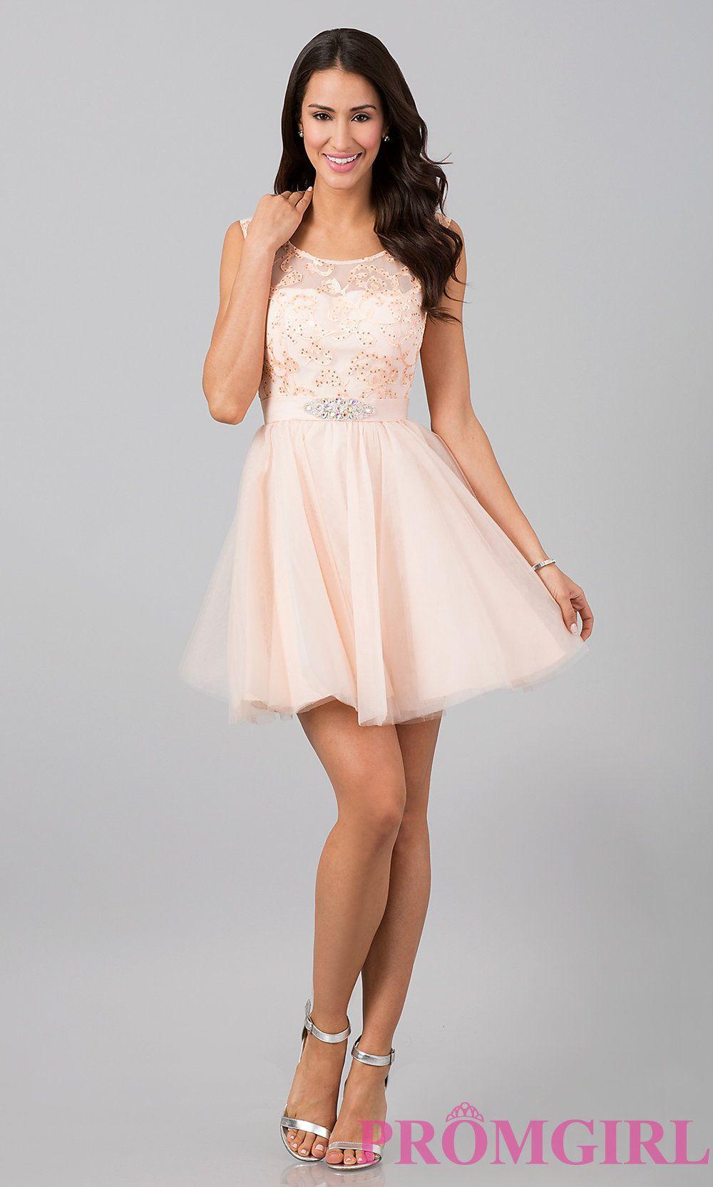 Short Sleeveless Lace Dresses, Short Lace Prom Dresses- PromGirl ...
