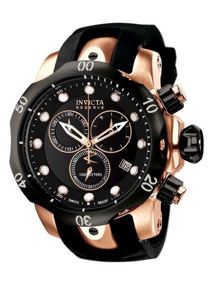 Men S Venom Rose Gold Black Watch By Invicta Watches At Gilt Watches For Men Invicta Watches Chronograph Watch