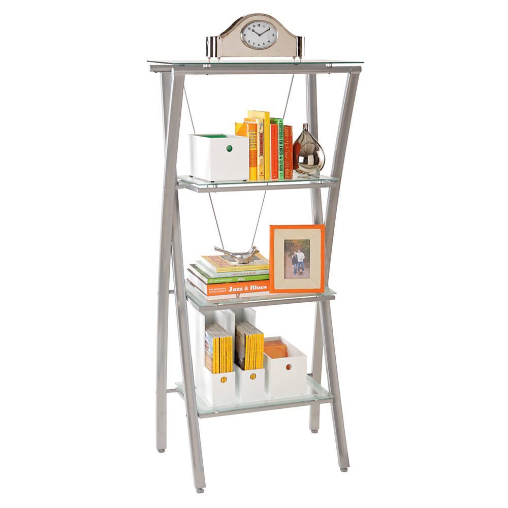 Realspace Zentra Bookcase 60 H X 28 W X 17 D Silver Clear