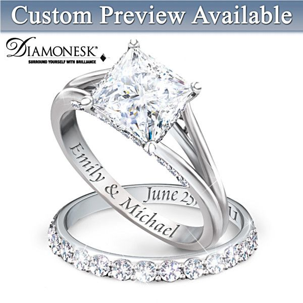 Princess Platinum Plated Bridal Ring Set With Engraving Diamond Bridal Ring Sets Bridal Rings Bridesmaid Jewelry Sets