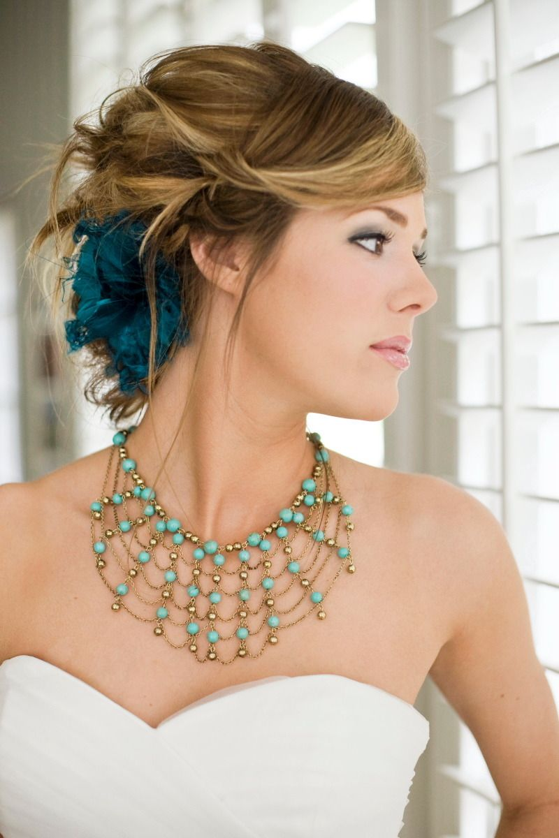 #hairstyles, #necklaces  Photography: Tana Photography - TanaPhotography.com Design & Planning: Soiree - weddingsbysoiree.com  Read More: http://www.stylemepretty.com/2011/07/12/boise-wedding-inspiration-from-soiree-tana-photography/