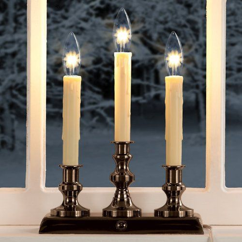 Traditional Electric Triple Candelabra By Brookstone 34 99 Traditional Electric Triple Candelabra Traditiona Window Candles Electric Window Candles Candles