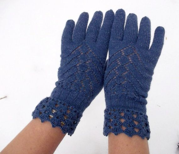 knitted lace blue fishnet gloves for women by peonijahandmadeshop, $35.00