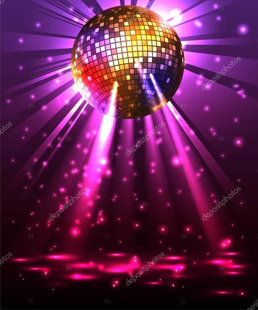 Sparkling Disco Ball Night Party Disco Background Disco Ball Party Night