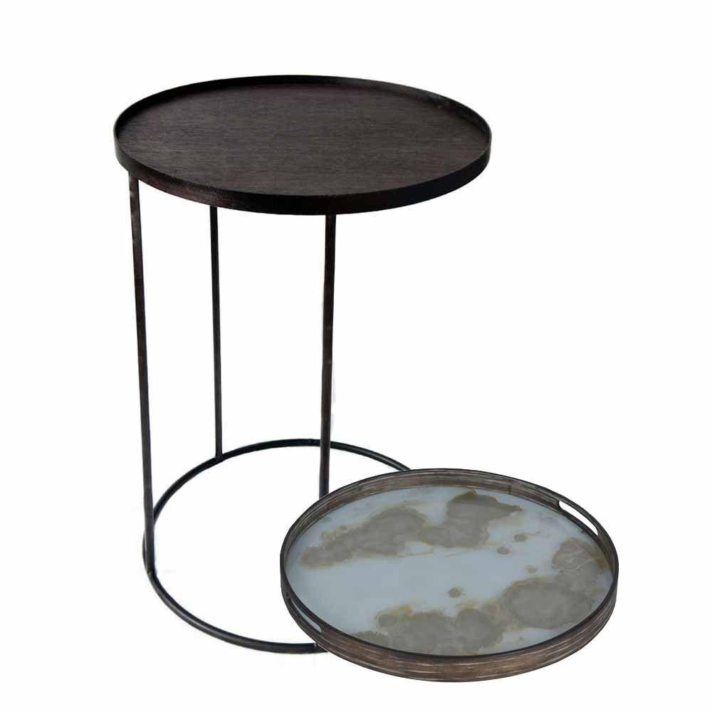 Notre Monde Tabletttisch Rund Goldstaub Metall Glas Tabletttisch Holztischplatte Tisch