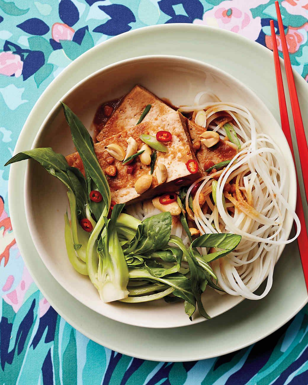 Tofu With Baby Bok Choy And Rice Noodles