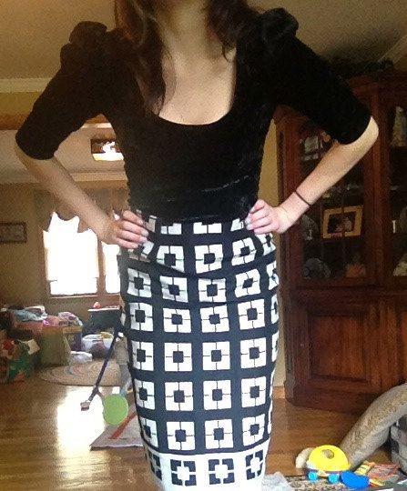 Vintage Reversible Geometric print Longline Skirt