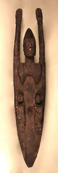 Nommos are often depicted with raised arms which can indicate a number of things. The nommos raises its arm to the sky  for the rain of forgiveness. It is also depicted as both male and female, although the female elements often dominated on some  and the male elements in others.