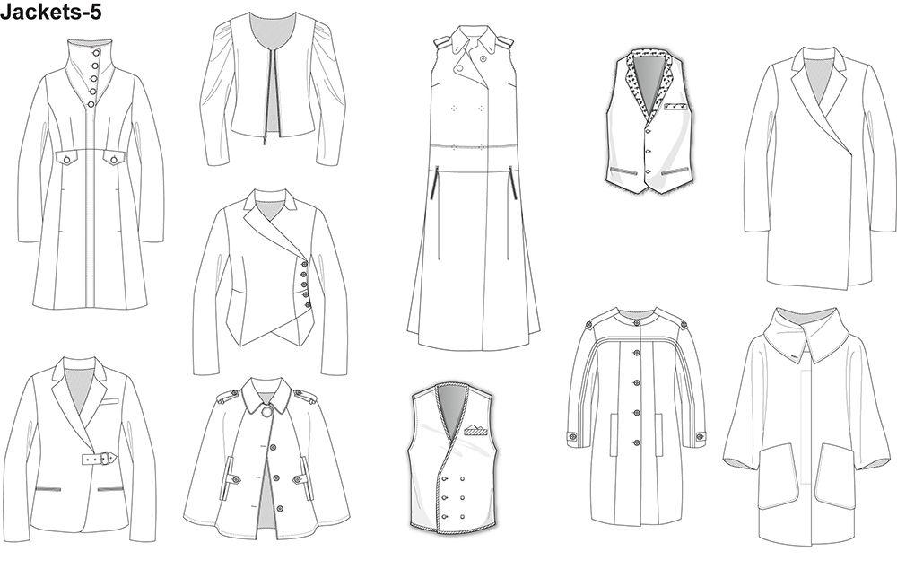 Fashion Flat Sketches For Jackets Prestigeprodesign Com Fashion Design Template Fashion Flats Illustration Fashion Design