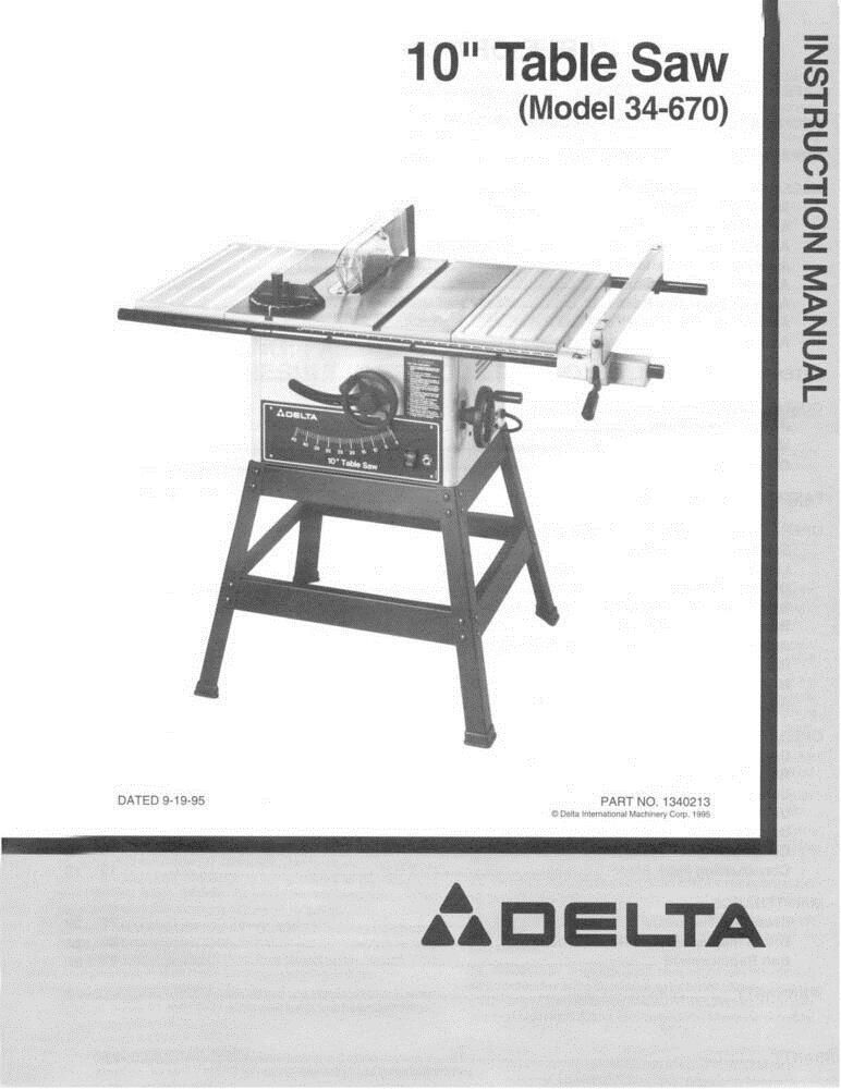 Manuals And Guides 171208 New Delta 34 670 10 Table Saw