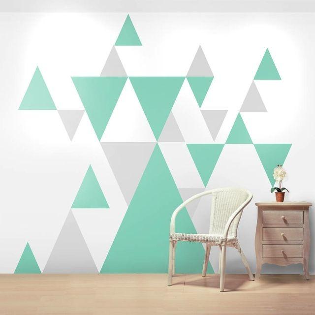 Wandgestaltung Treppenaufgang Gestalten: Wandmuster Ideen – Geometrische Formen Streichen