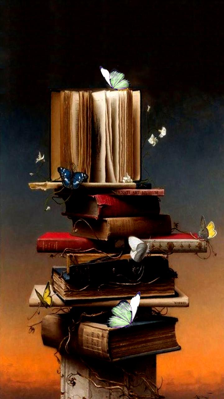 Phone Wallpaper Books And Butterflies Photography Prints Art Book Wallpaper Reading Wallpaper