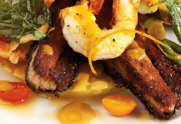 Crispy Pork Belly and Shrimp with Orange Sauce