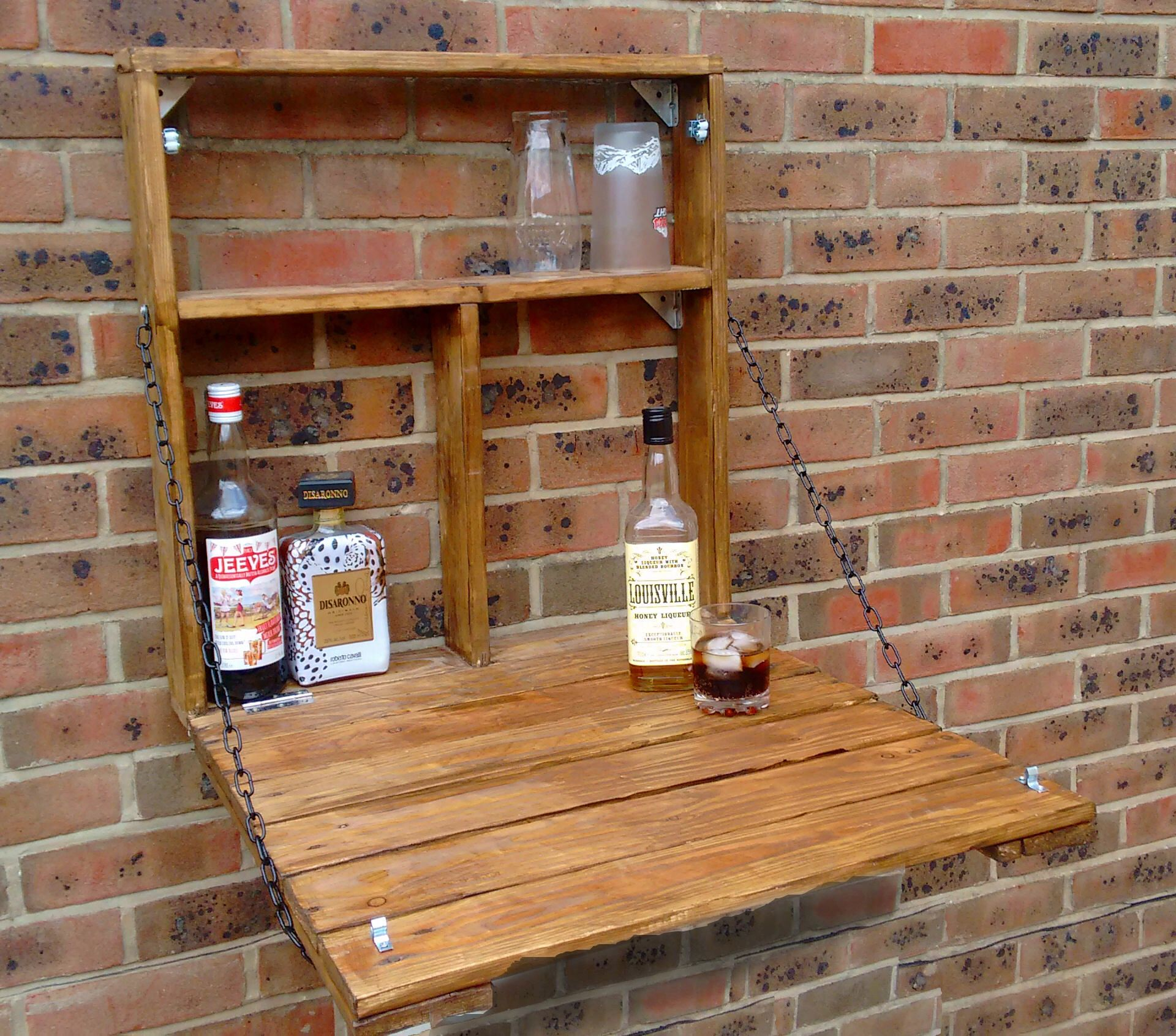 The Drinky Shelf A Snazzy Upcycled Fold Down Garden Mini Bar Drinks Cabinet Murphy Bar Made From Reclaimed Pallet Wood Mini Bar Drinks Cabinet Wall Bar