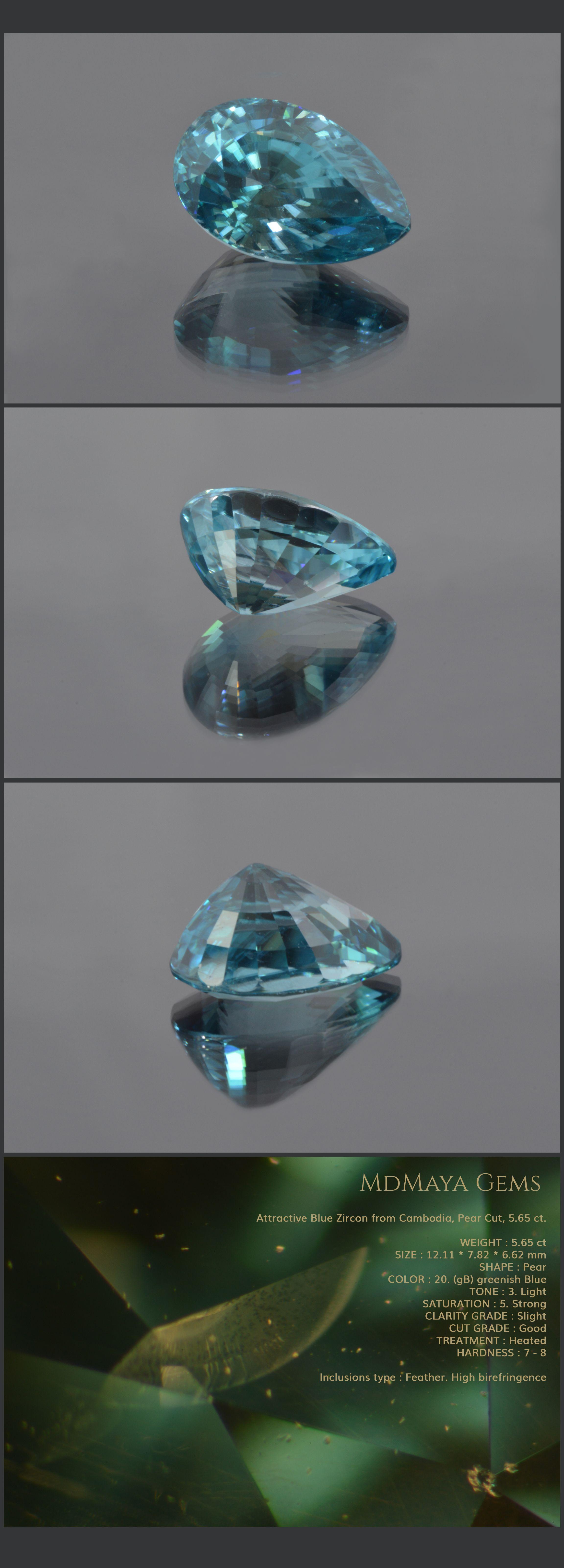 Attractive Blue Zircon from Cambodia, Pear Cut, 5.65 ct. Loose Zircon Gemstone MdMaya Gems