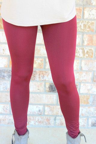 """Fleece Lined Legging""  in  Wine $14 with Free Shipping at ShopLoveigh.com"