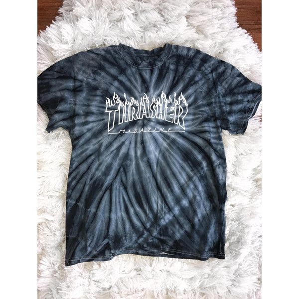 9ffc48e294ab33 Thrasher Magazine Logo Tie Dye T shirt Skateboarding ($26) ❤ liked on  Polyvore featuring