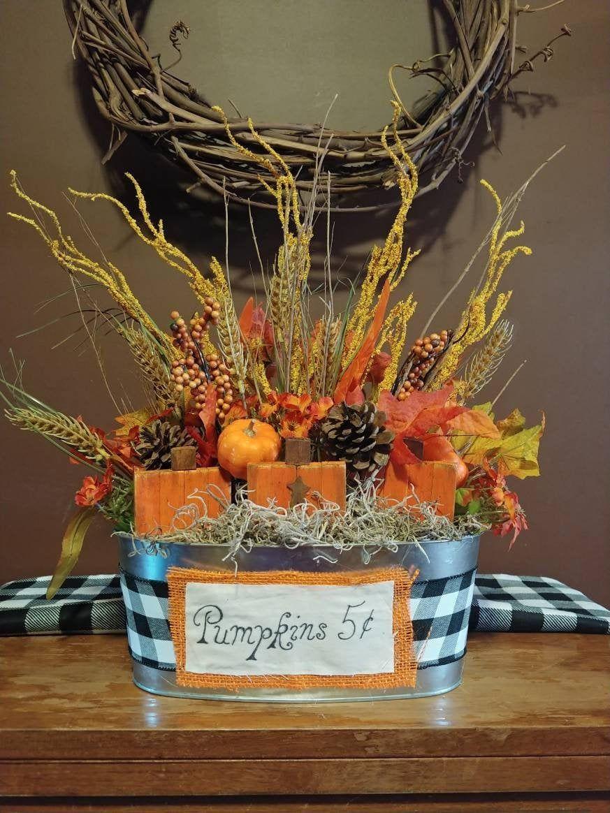 Fall farmhouse artificial flower arrangement autumn