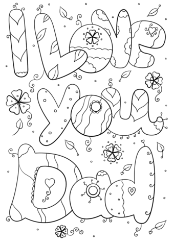 I Love You Dad Coloring Page From Father S Day Category Select