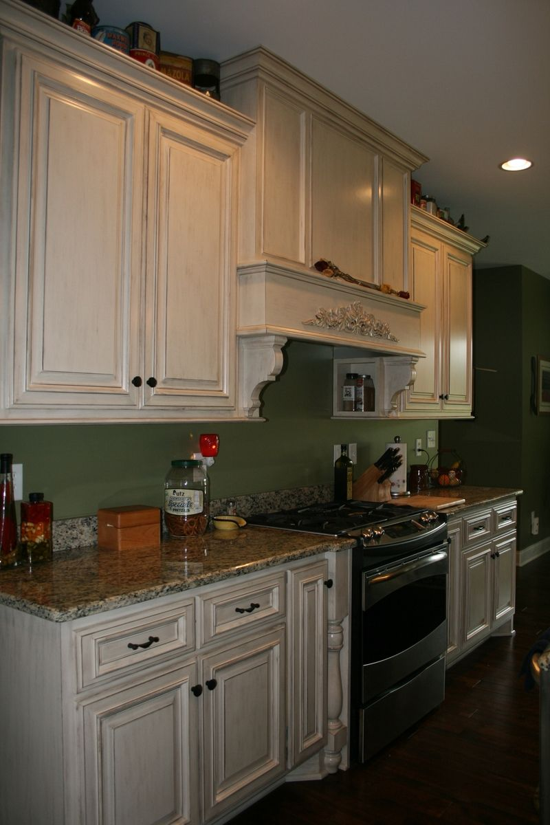 Custom Painted Kitchen Cabinets with Stained Island ...