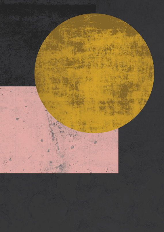 Gold moon Geometric Abstract wall art print Gold black pink and gold ...
