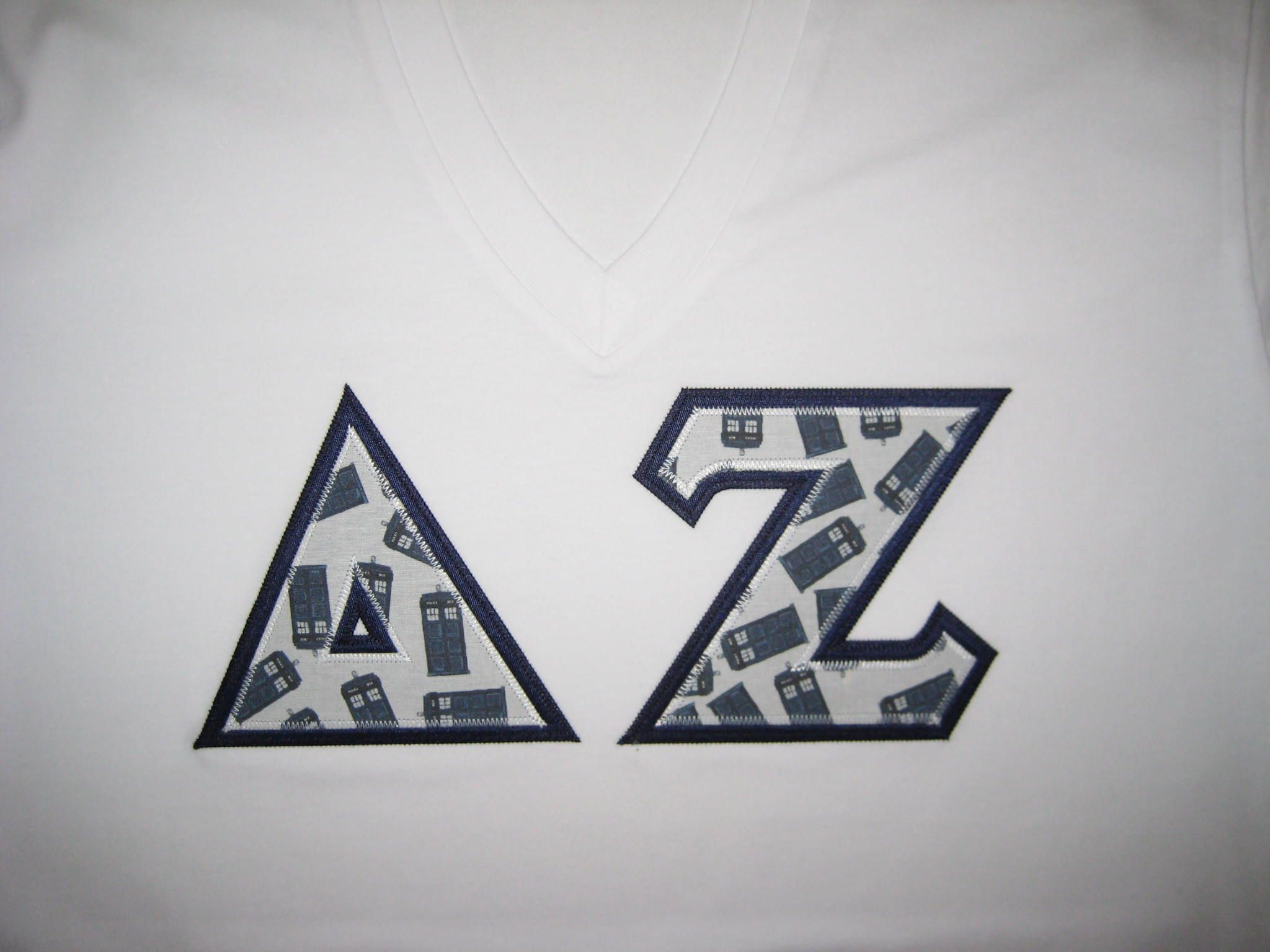 delta zeta custom fabric greek letter shirt tardis