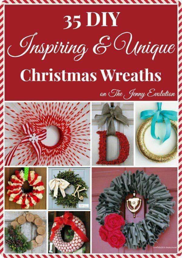 35 DIY Inspiring Unique Christmas Wreaths Wreath tutorial, Wreaths