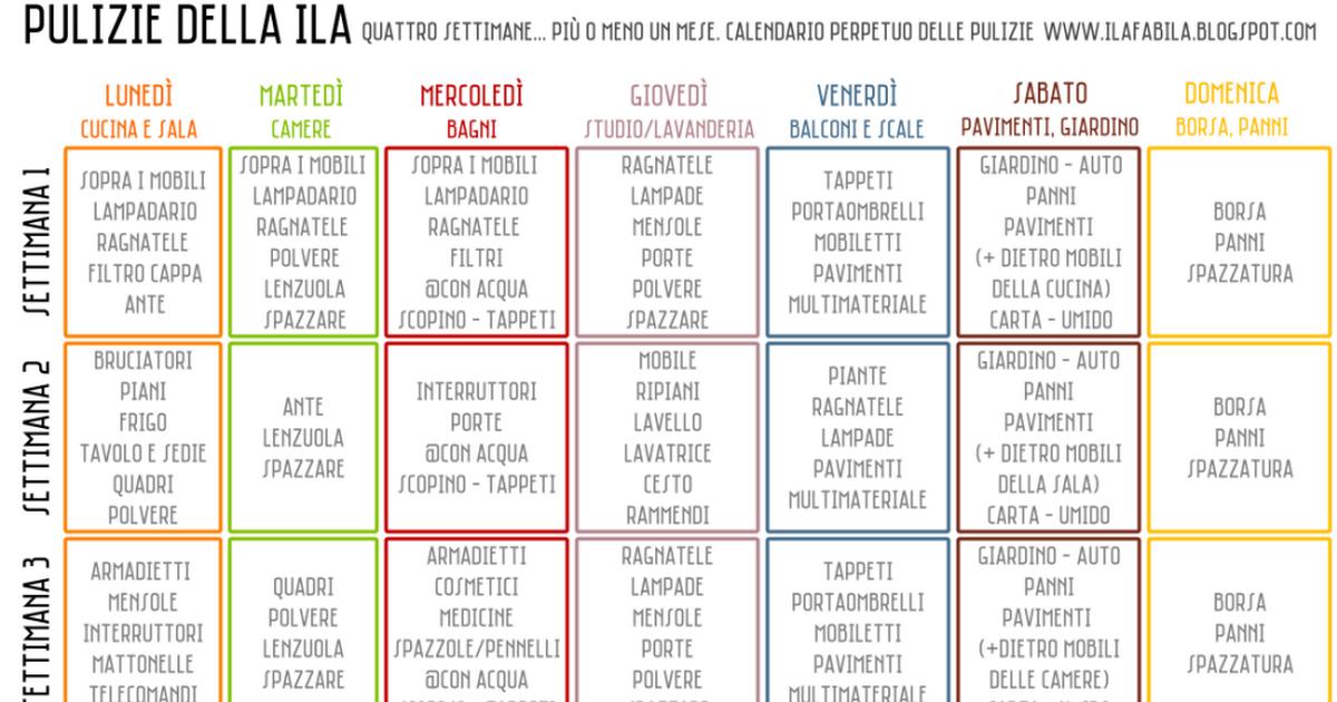 Favoloso Organizzare le Pulizie - Calendario Perpetuo.pdf | Pulizie di casa JY33