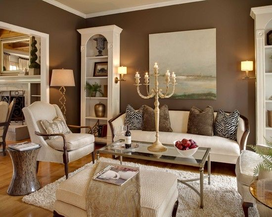 Brown Walls With Cream Trim Chocolate Sable By Sherwin Williams Love The Wall Color And Floors