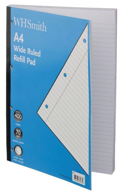 WHSmith A4 Refill Pad 400 Page - Stationery | WHSmith