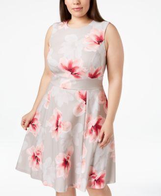 09fd9acb47b Calvin Klein Plus Size Floral-Print Fit & Flare Dress - Brown 18W ...