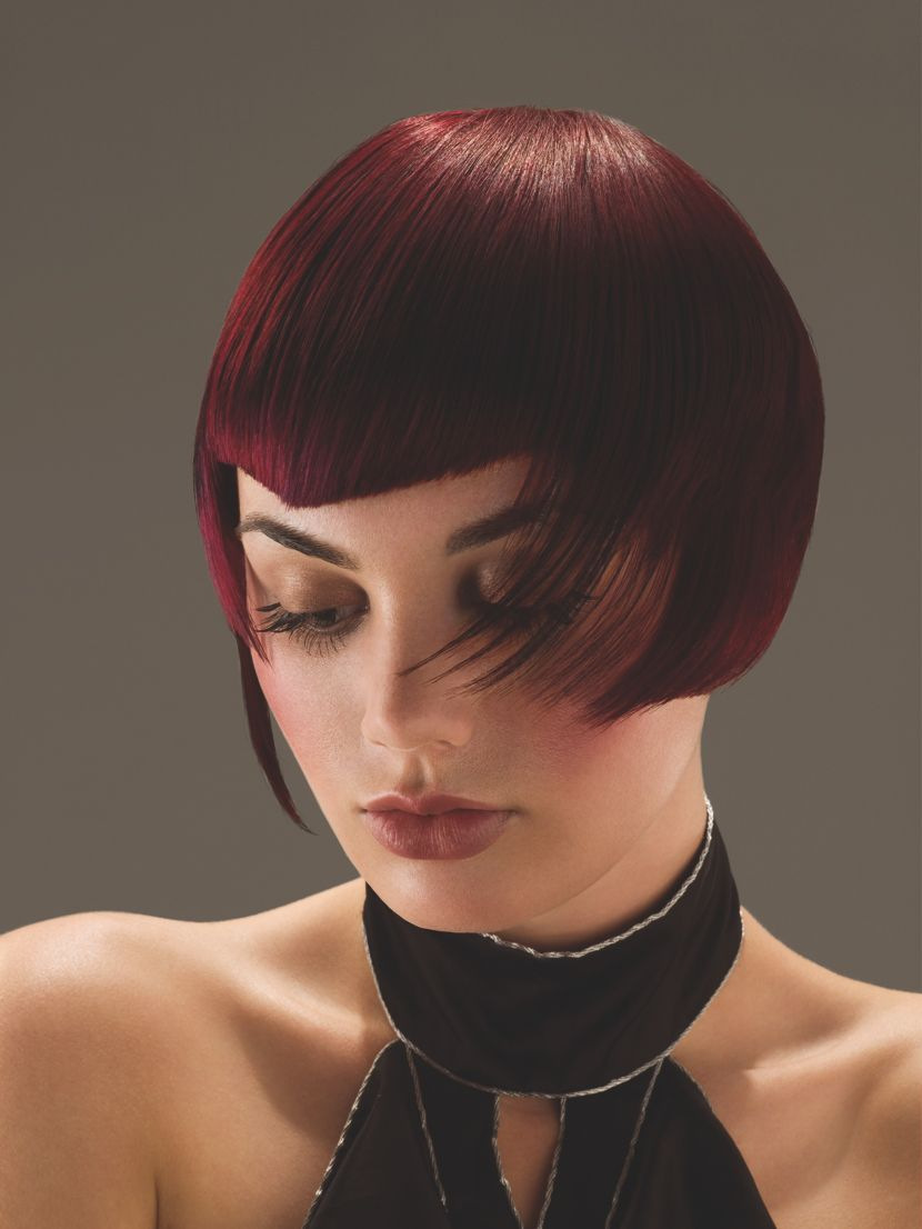 Poppy corbyteuch wearing a burgundy bob wigs u hairstyles