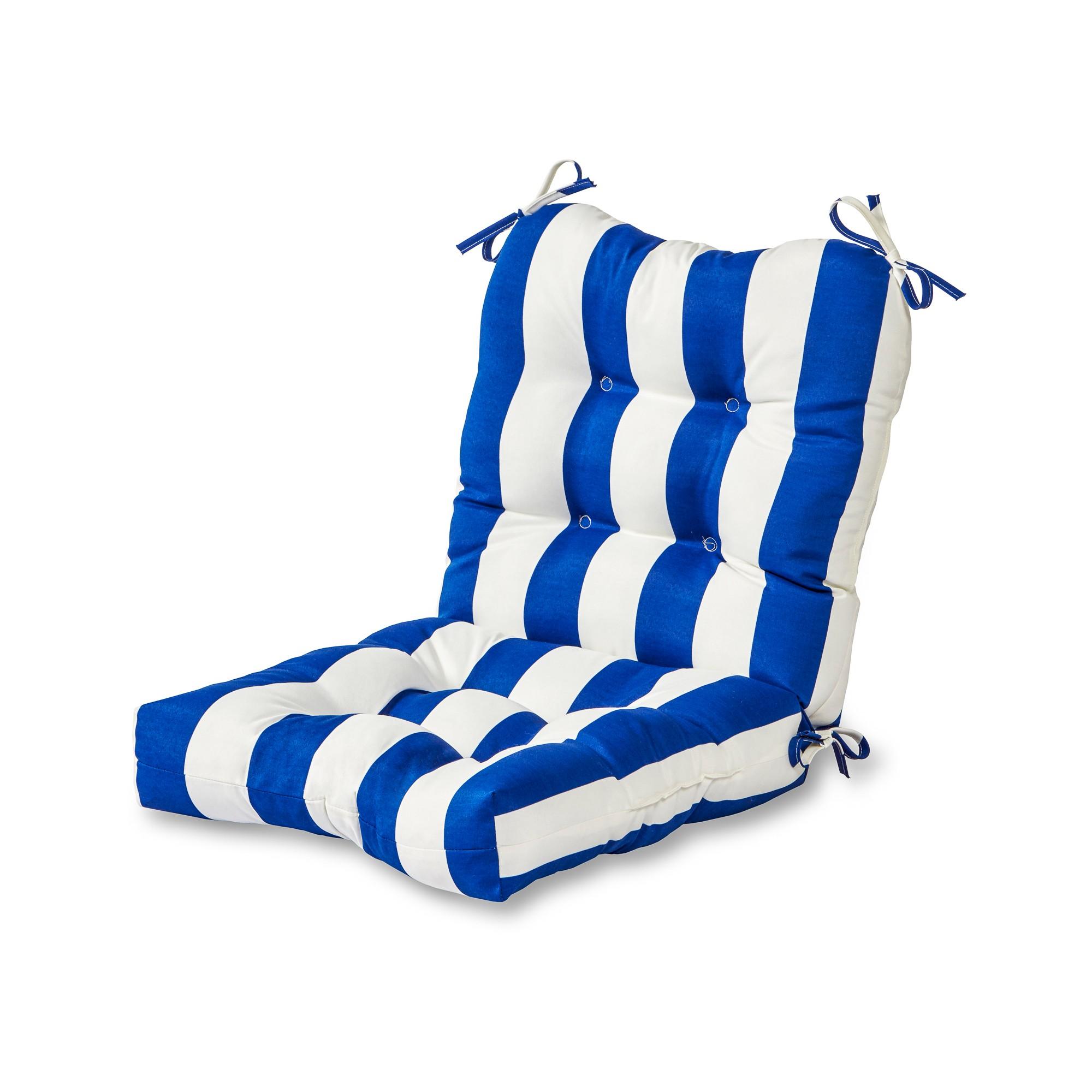 Cabana Stripe Blue Outdoor Seat/Back Chair Cushion
