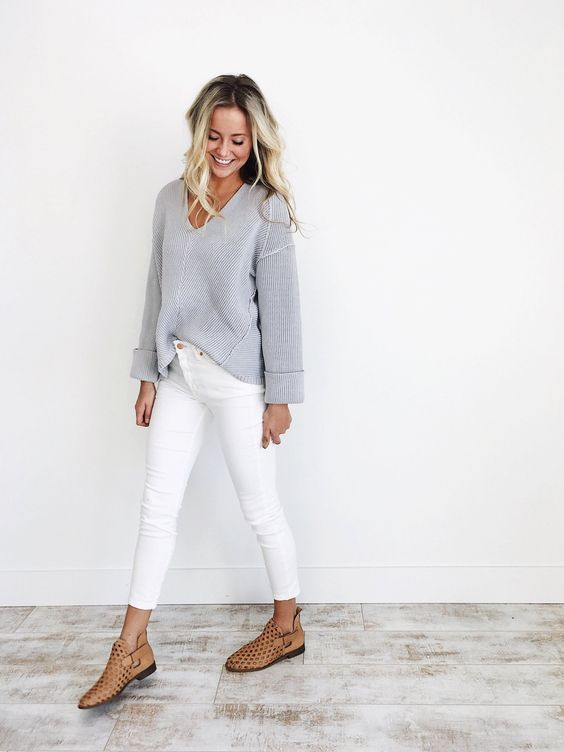 Free People Payton Skinny Jeans | White skinnies, Grey and Grey outfit