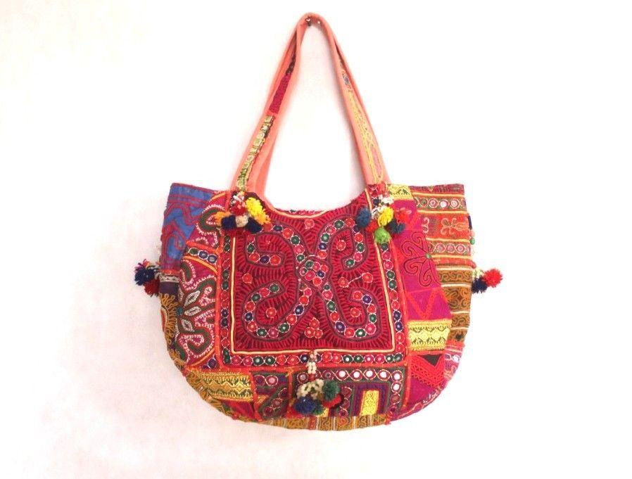 Indian Vintage Banjara Hand Embroidery Mirror Work Pom Pom Tassels Boho Embellishments Multi color Tribal Hippie Gypsy Large Tote Cotton Bag
